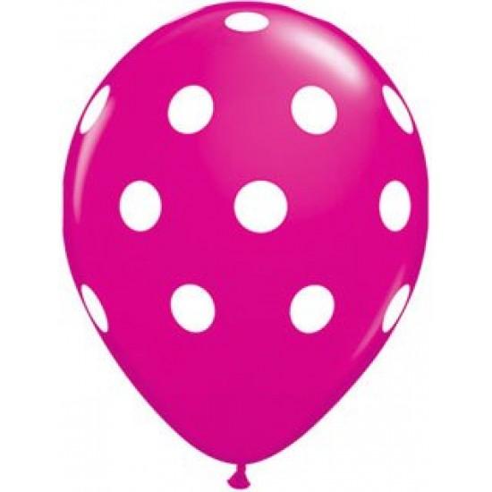"""Μπαλόνι 11"""" latex πουά φούξια"""