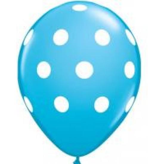 """Μπαλόνι 11"""" latex πουά τιρκουάζ"""