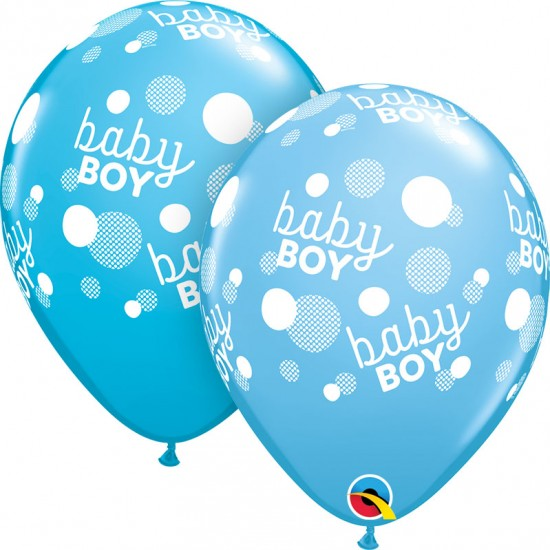 "11"" Baby Boy Dot Pale Blue & Robins"