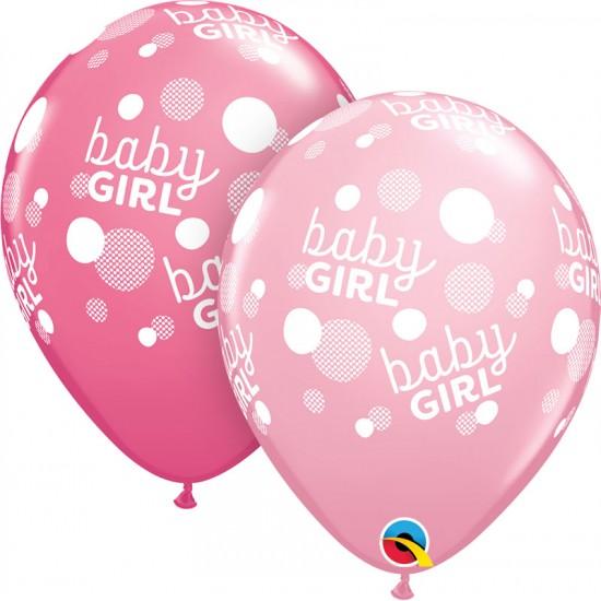 """11"""" Baby Girl Dot Pink & Rose"""