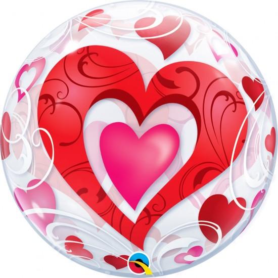 BUBBLE RED HEARTS & FILIGREE
