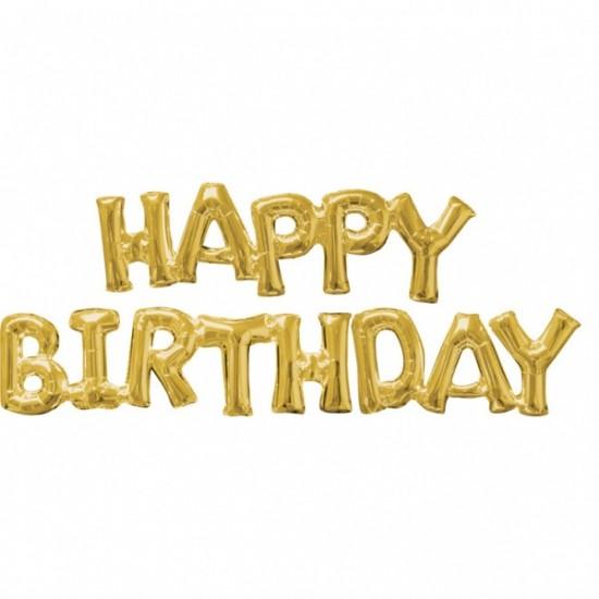 """Happy Birthday"" Μπαλόνι foil gold"