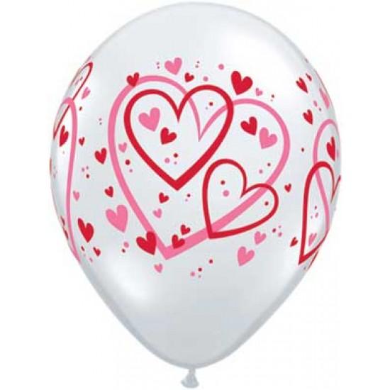 """Μπαλόνι 11"""" latex με καρδούλες"""