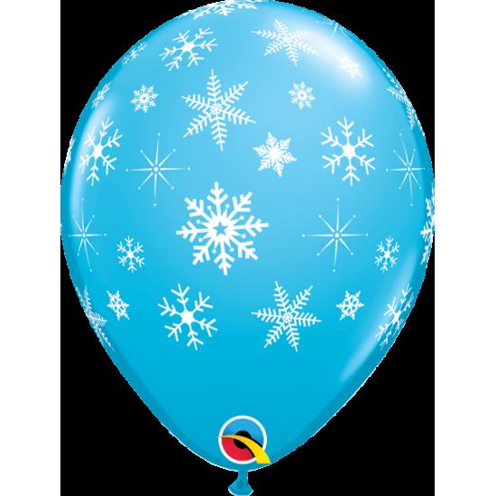 """Μπαλόνι 11"""" latex Χιονονιφάδες τιρκουάζ"""