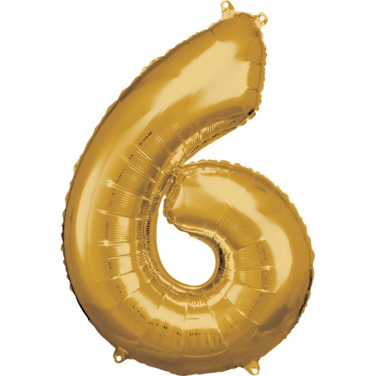 Νούμερο 6 χρυσό με ήλιον