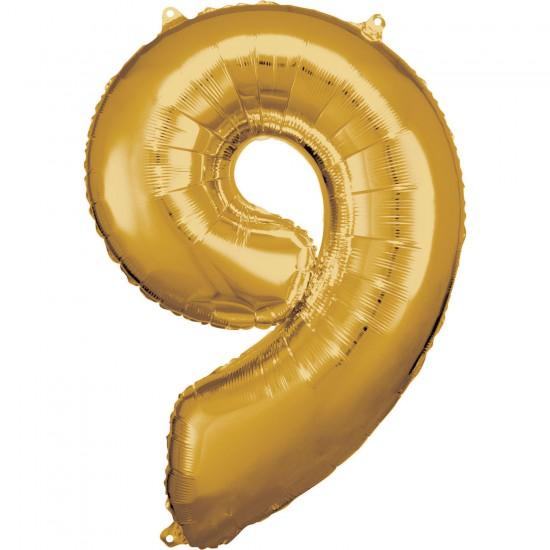 Νούμερο 9 χρυσό με ήλιον