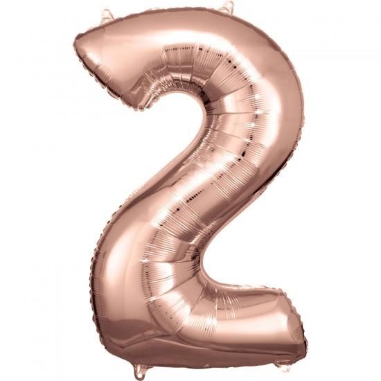 Νούμερο 2 ροζ χρυσό με ήλιον