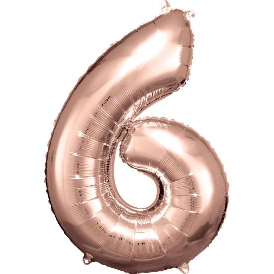 Νούμερο 6 ροζ χρυσό με ήλιον