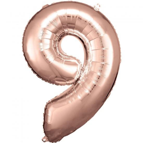 Νούμερο 9 ροζ χρυσό με ήλιον