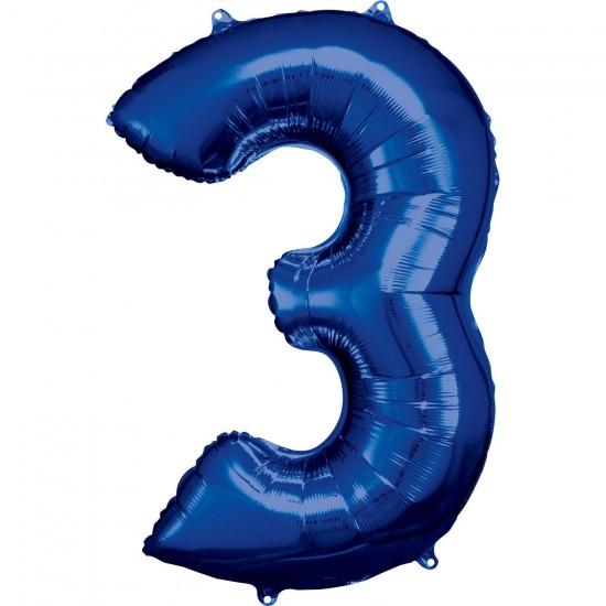 Νούμερο 3 μπλε με ήλιον