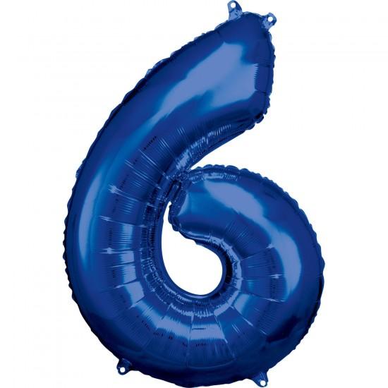 Νούμερο 6 μπλε με ήλιον