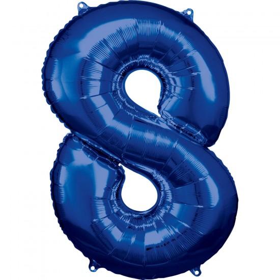 Νούμερο 8 μπλε με ήλιον