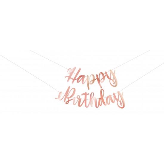 """Happy Birthday"" Rose Gold Banner"