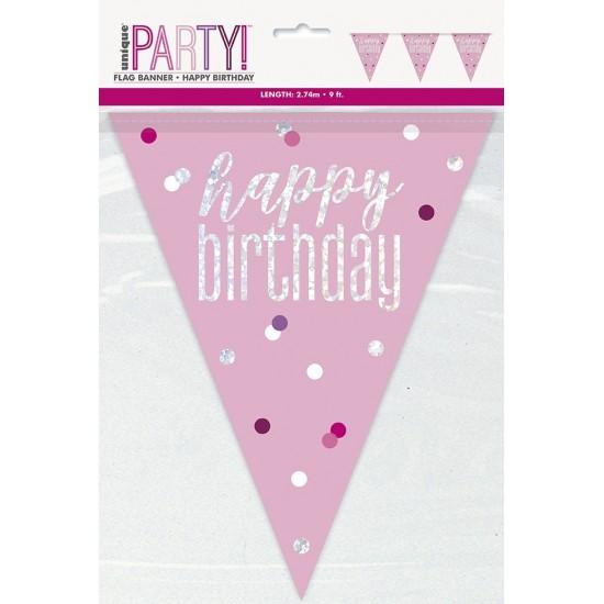 Σημαιάκια Happy Birthday Ροζ