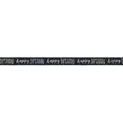 Happy Birthday foil banner Μαύρο-Ασημί