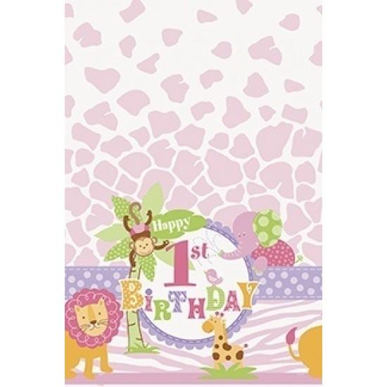 """Pink Safari 1st Birthday"" Τραπεζομάντηλο"