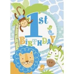 """""""Blue Safari 1st Birthday"""" Προσκλήσεις"""