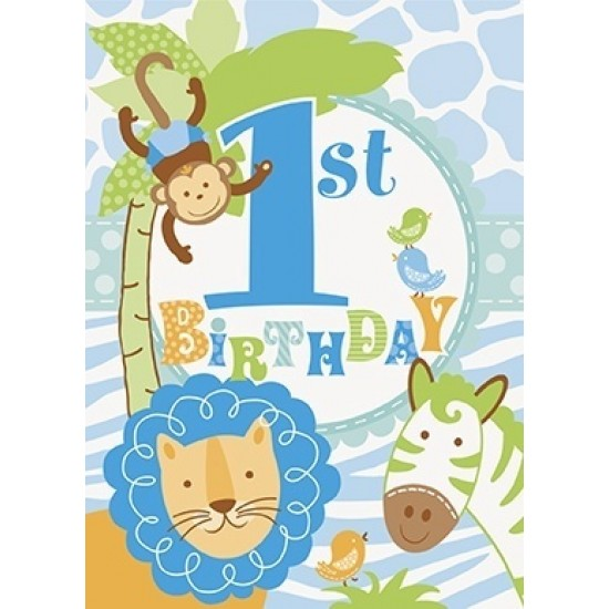 """Blue Safari 1st Birthday"" Προσκλήσεις"