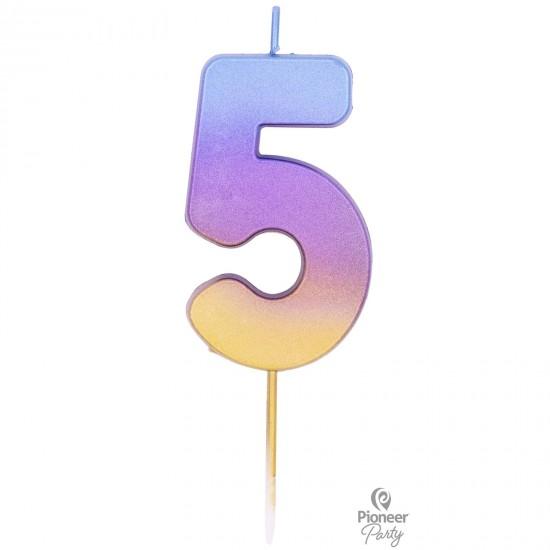 Κερί Νούμερο 5 Rainbow Ombre