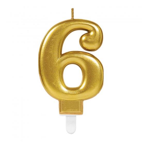 Κερί Νούμερο 6 χρυσό