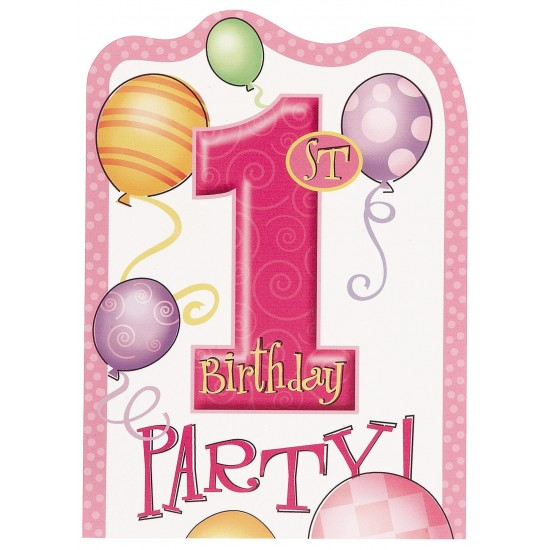 """First Bday Balloons Pink"" Προσκλήσεις"